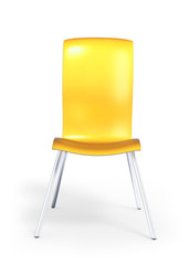 Yellow anatomical chair isolated on white 3d model