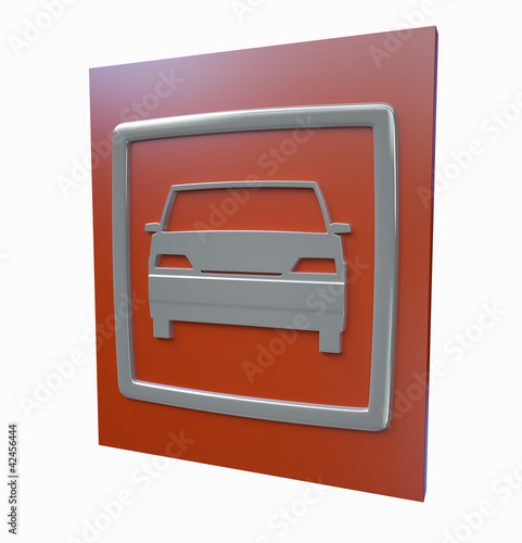 Car parking red sign isolated on a white background