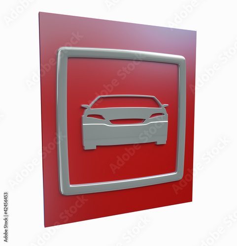 Sport car parking red sign isolated on a white background