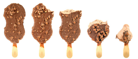 bitten ice cream with chocolate a stick