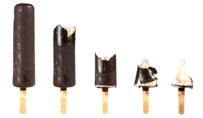 bitten ice cream with chocolate on a stick