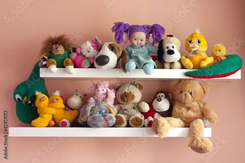 toys child in the room on the shelf
