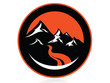 High mountain peaks, circle logo,icon,sign,vector