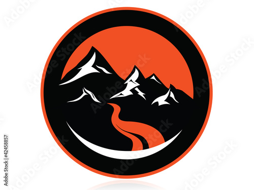 High mountain peaks, circle logo,icon,sign,vector