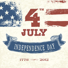 Vintage styled card for Fourth July Celebration. Vector, EPS10