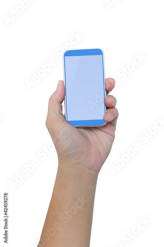 hand holding smartphone isolated with clipping path