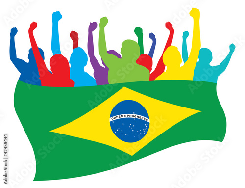 Brazil fans vector illustration