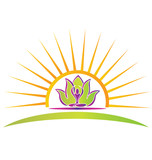 Sun, lotus and yoga figure logo vector