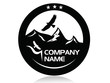 Mountain peaks and eagle,logo,icon,sign,vector