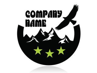 Mountain peaks and eagle in semicircle,logo,three green stars