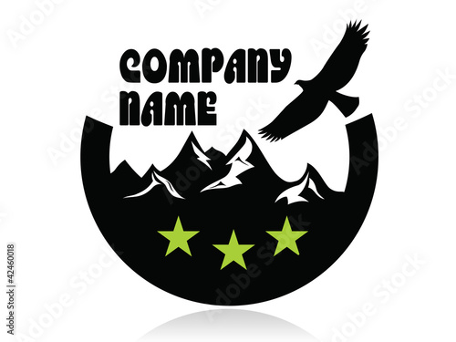 Mountain peaks and eagle in semicircle,logo,three green stars