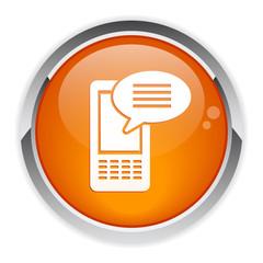 button Internet phone message icon.