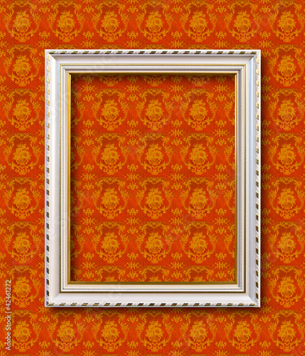 frame on yellow wallpaper with clipping path