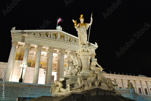 Austrian Parliament by night, Vienna