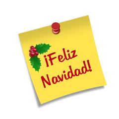 Post-it con chincheta texto ¡Feliz Navidad!