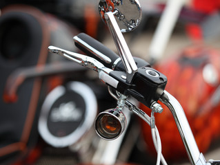 Steering wheel motorcycle leather handbrake lever mirror