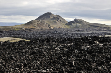 Krafla volcano black lava fields.