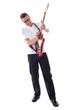 Full shot of a caucasian guitarist