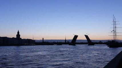 St. Petersburg, Panorama of Silhouette leaf bridge