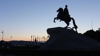 St. Petersburg, Bronze Horseman silhouette in White Nights