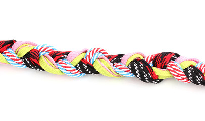 Colorful shoelaces in pigtail isolated on white