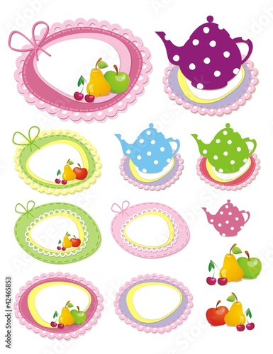 Adorable scrapbook kitchen elements. Vector illustration.