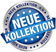 """Button Banner """"Neue Kollektion"""" blau/silber"""