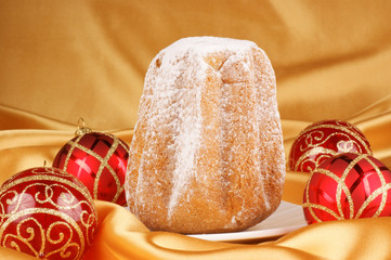 Christmas composition with Pandoro