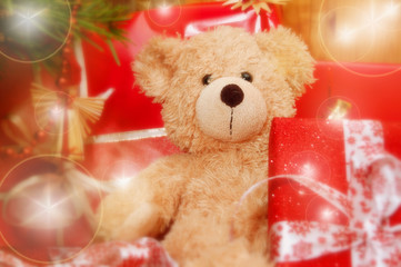 x-mas teddy with presents