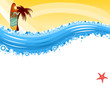 Vacation surf at tropical beach - vector EPS AI8