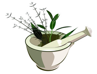 Medical mortar and pestle with herbs