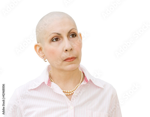 Cancer patient undergoing chemotherapy - looking sideways