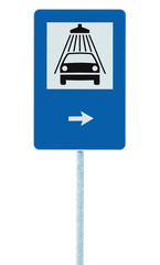 Car wash road sign post pole, traffic roadsign, arrow