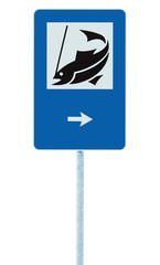 Fish angling sign isolated roadside signpost pole post arrow