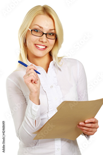 Happy business woman with folder, isolated on white background
