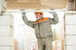 mason worker bricklayer builder with level