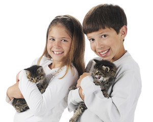 Siblings with Kitties
