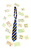 neck tie with post it notes