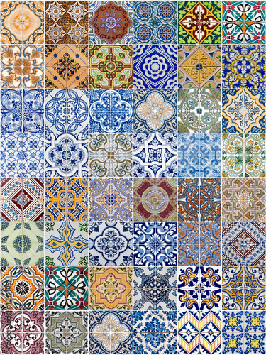 Set of 48 ceramic tiles patterns - 42471067