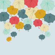 Bakgrund med collor paraplyer. Vektor illustration för höst.