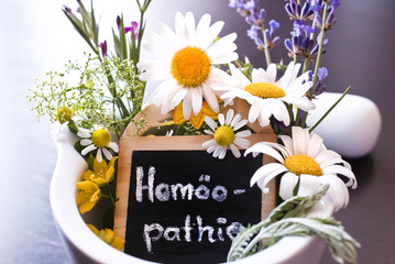 Mörser mit Arzneipflanzen und Homöopathieschild