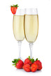 Two glasses of champagne and fresh strawberry isolated on white