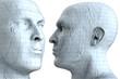 Mensch Kopf aus kariertem Papier 3D