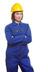 Frau im Blaumann mit Helm