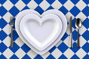 Teller Herzform Tisch Gedeck Oktoberfest