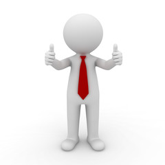 3d businessman showing thumbs up on white background