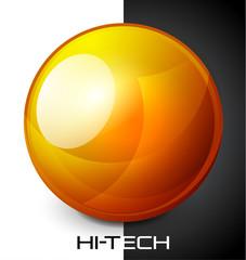 Realistic orange sphere button
