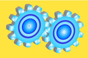 Two gears 3D in a frame on a yellow background
