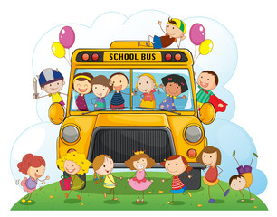 kids with school bus