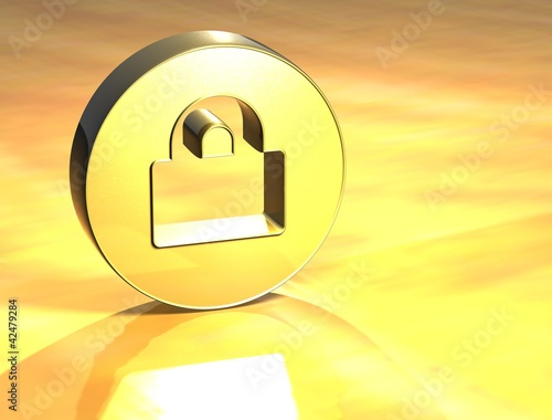 3D Closed Padlock Gold Sign